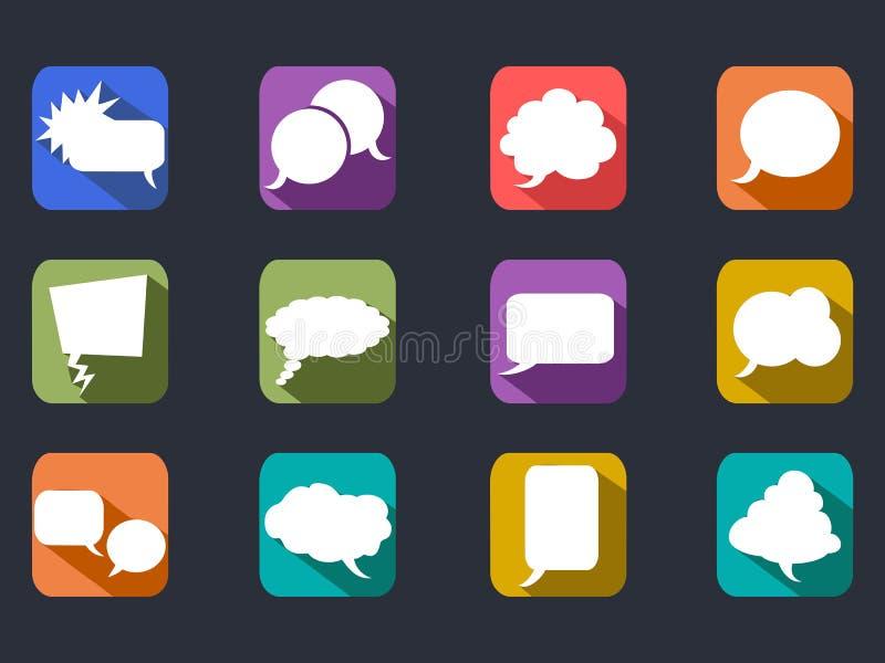 Anförandebubblor skuggar länge plana symboler vektor illustrationer