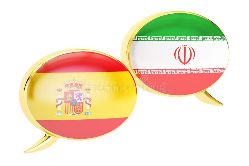 Anförandebubblor, Spanjor-perser konversationbegrepp 3d vektor illustrationer
