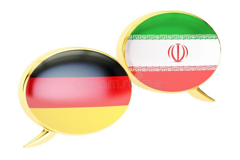 Anförandebubblor, Tysk-perser konversationbegrepp royaltyfri illustrationer