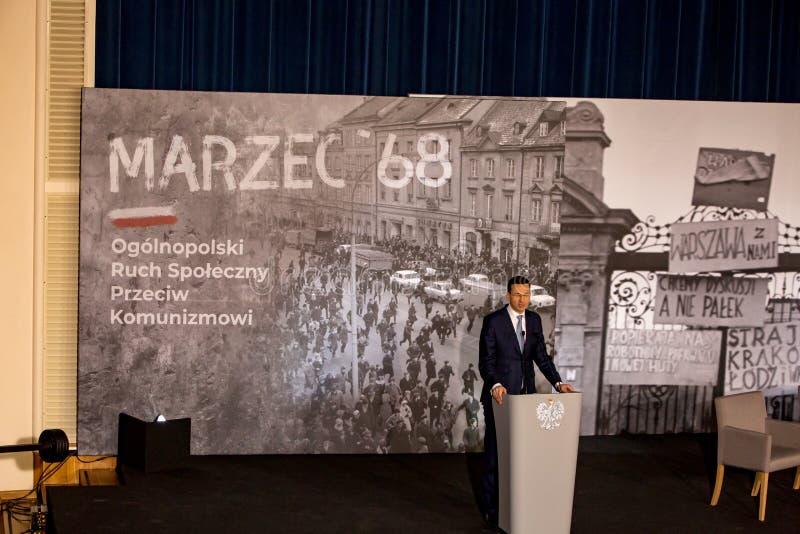 Anförandet av presidenten av rådet av ministrar av Republiken Polen - Mateusz Morawiecki fotografering för bildbyråer