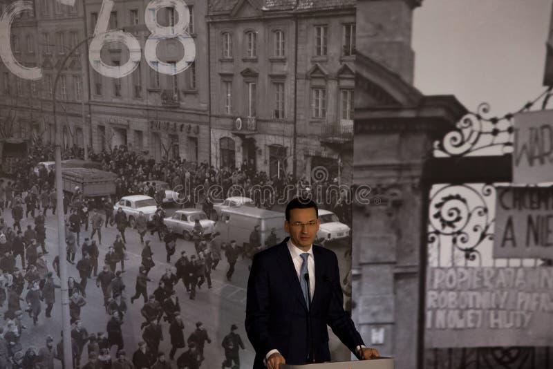 Anförandet av presidenten av rådet av ministrar av Republiken Polen - Mateusz Morawiecki arkivbild