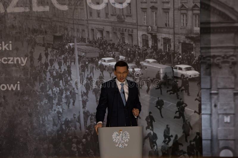 Anförandet av presidenten av rådet av ministrar av Republiken Polen - Mateusz Morawiecki arkivfoton