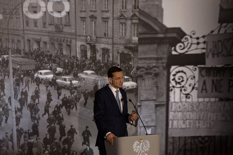 Anförandet av presidenten av rådet av ministrar av Republiken Polen - Mateusz Morawiecki royaltyfria foton