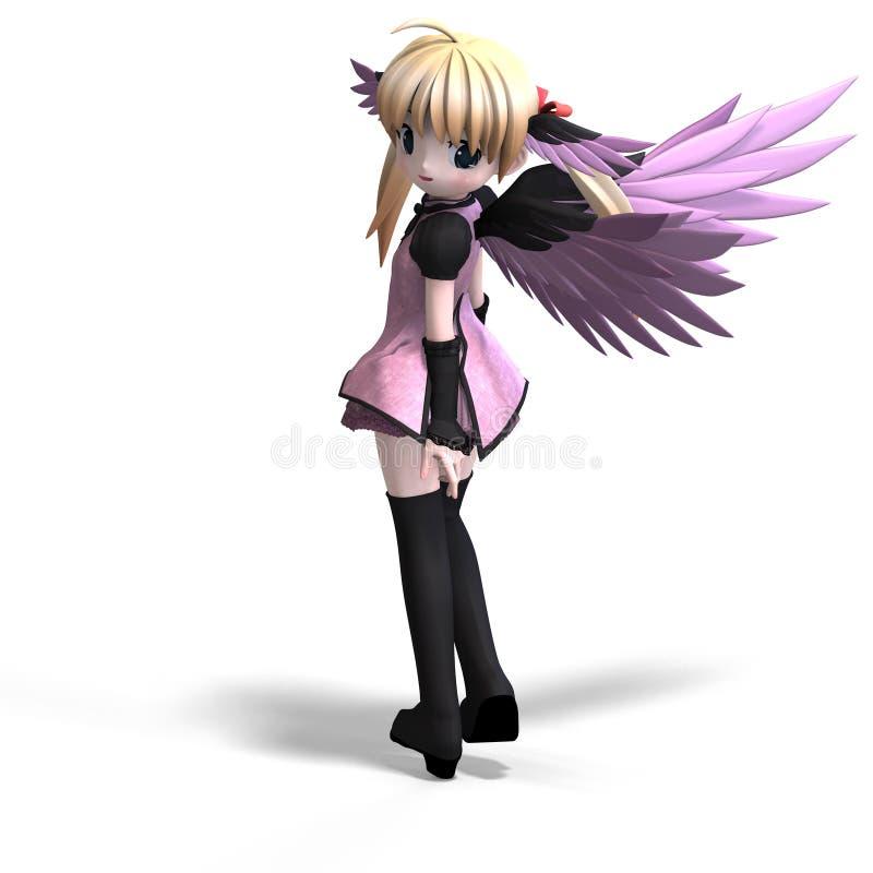 anf anioła fantazi pigtail cukierki skrzydła ilustracja wektor