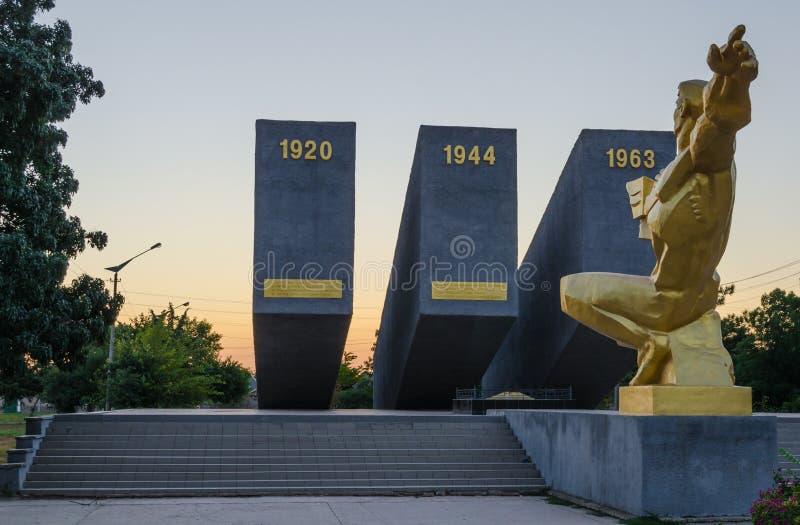 Anfall för tre Perekopa på gryning I Krasnoperekopsk royaltyfri foto