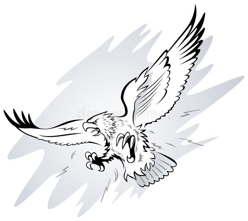 anfalla örn royaltyfri illustrationer