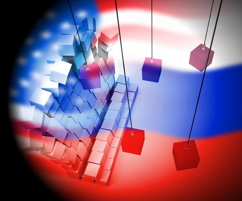 Anfaller ryskt spionage för valdataintrång illustrationen 3d vektor illustrationer