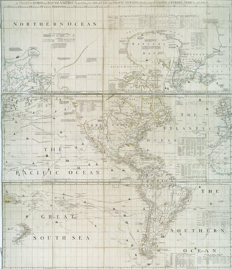 Anfang- des 18. Jahrhundertskarte der westlicher Hemisphäre stock abbildung