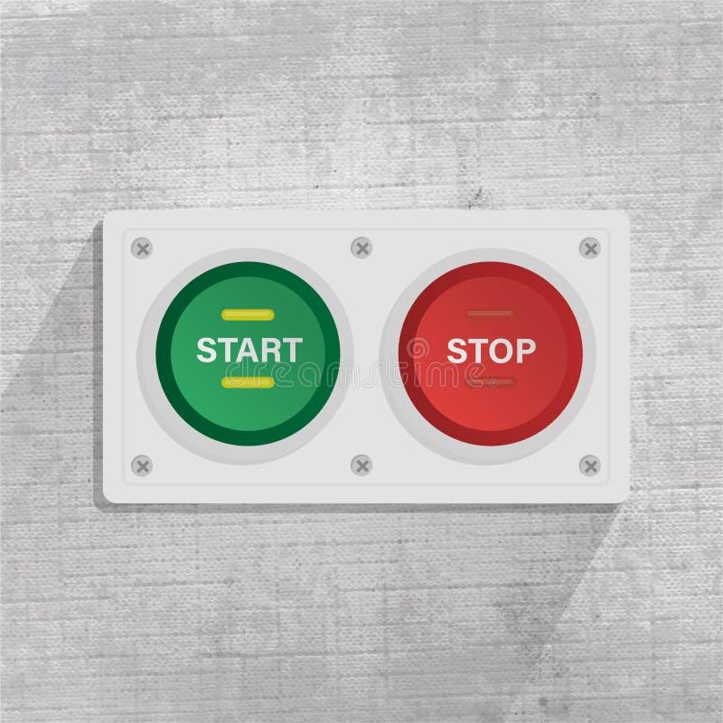 Anfangs- und STOPP-Taste im grauen Hintergrund vektor abbildung