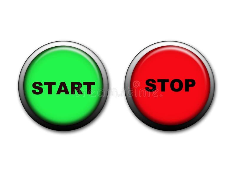 Anfangs- und STOPP-Tasten stock abbildung