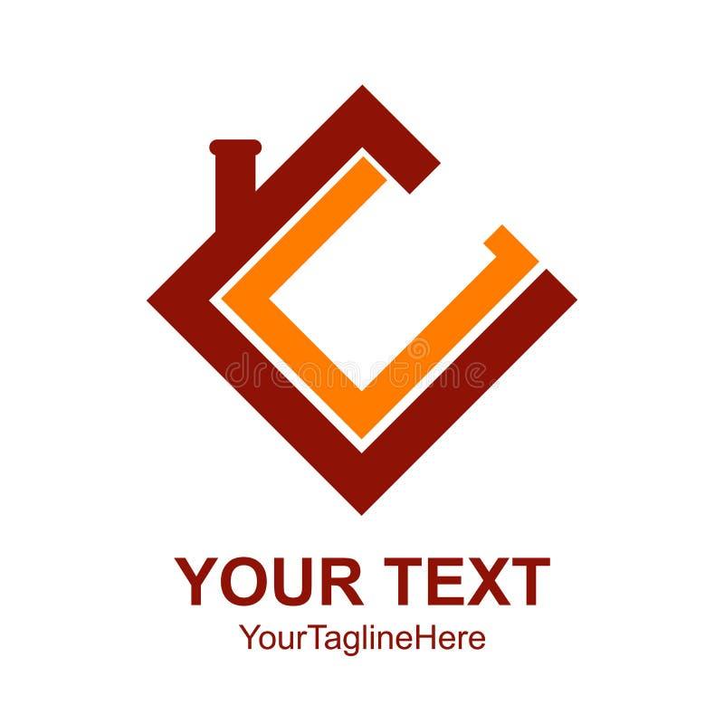 Anfangsbuchstabe cm-Logodesign-Schablonenelement färbte rotes Orang-Utan lizenzfreie abbildung