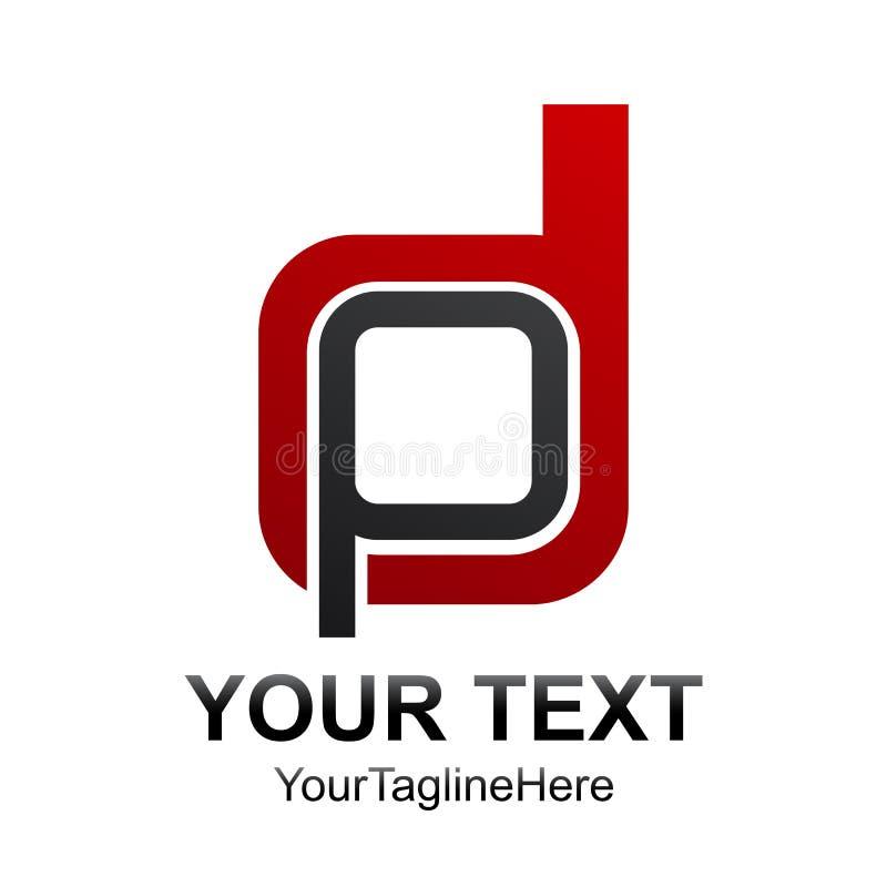 Anfangsbuchstabe DP- oder PD-Logodesign-Schablonenelement färbte gre vektor abbildung