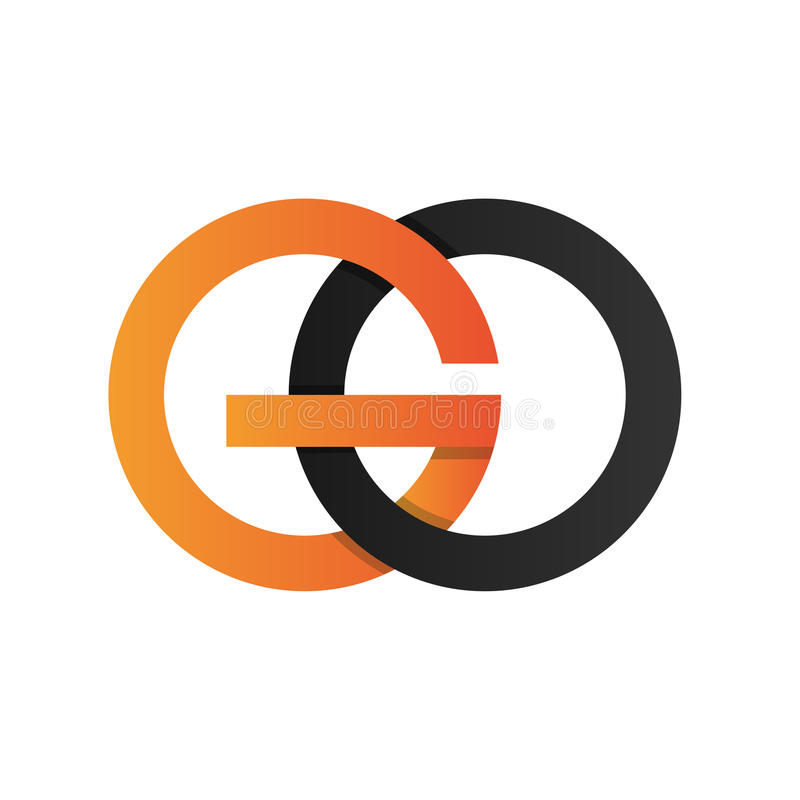 Anfangsbuchstabe GEHEN gerundetes ico Logo mit der sauberen angeschlossenen Farbe lizenzfreie abbildung