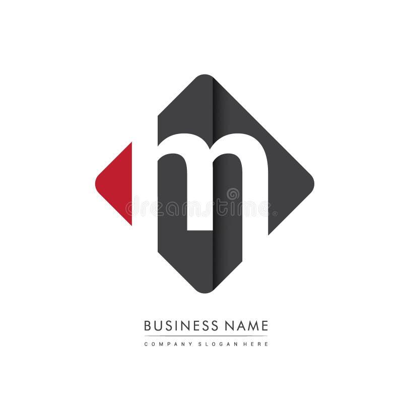 Anfangsbuchstabe M Square Logo, lokalisiert mit roter und schwarzer Farbe lizenzfreie stockbilder