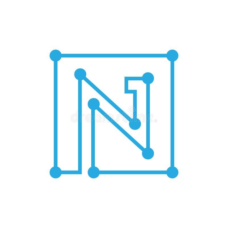 Anfangsbuchstabe- Nblockchain Logoquadrat-Entwurfsanschlag stock abbildung