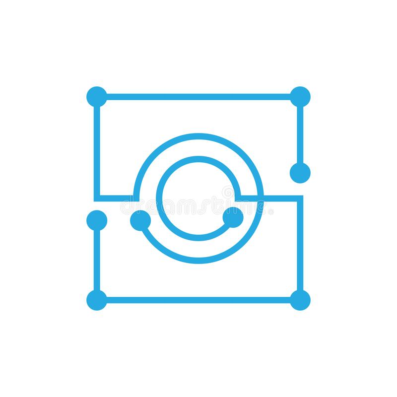 Anfangsbuchstabe O blockchain Logoquadrat-Entwurfsanschlag stock abbildung