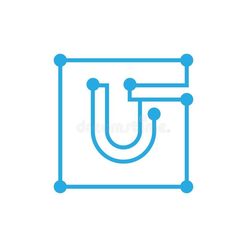 Anfangsbuchstabe U blockchain Logoquadrat-Entwurfsanschlag vektor abbildung