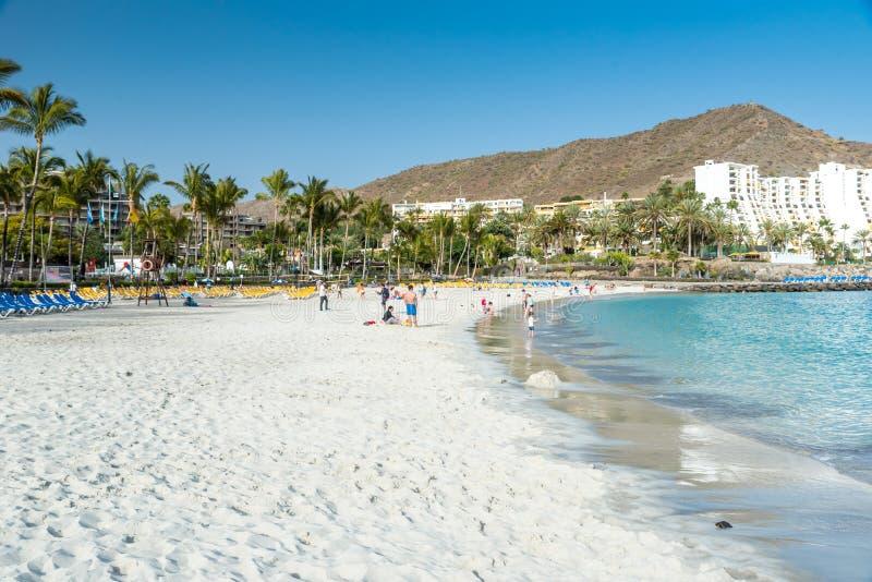 Anfi海滩-海岛大加那利岛,西班牙 免版税库存照片