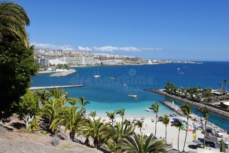Anfi fel Mst海滩,大加那利岛,西班牙海岛  免版税库存图片