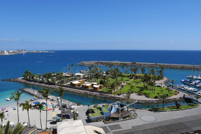 Anfi fel Mst海滩,大加那利岛,西班牙海岛  图库摄影