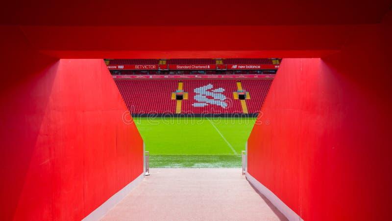 Anfield-Stadion, die Heimspielstätte des Liverpool-Fußballvereins in Großbritannien lizenzfreie stockfotografie