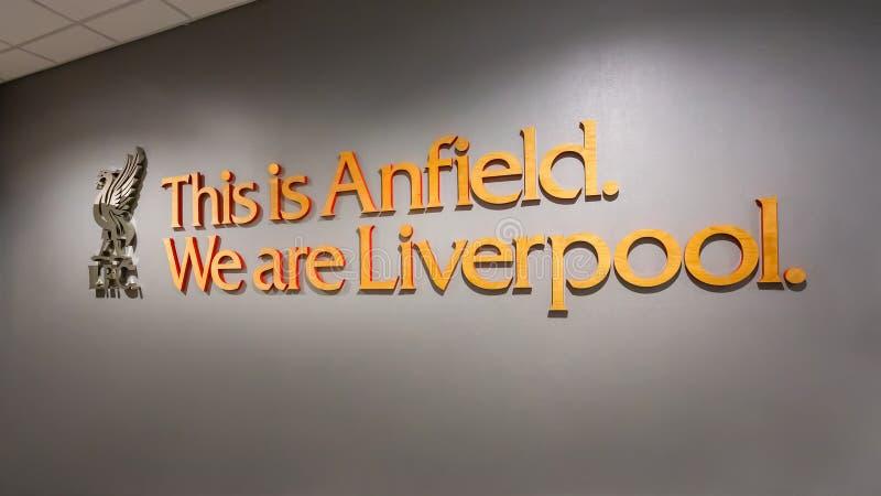 Anfield-Stadion, die Heimspielstätte des Liverpool-Fußballvereins in Großbritannien lizenzfreie stockfotos
