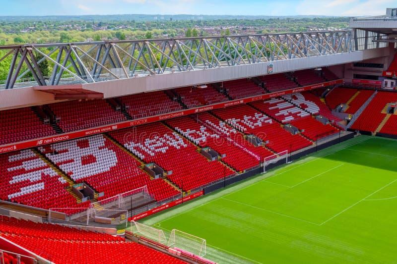 Anfield-Stadion, die Heimspielstätte des Liverpool-Fußballvereins in Großbritannien stockbilder