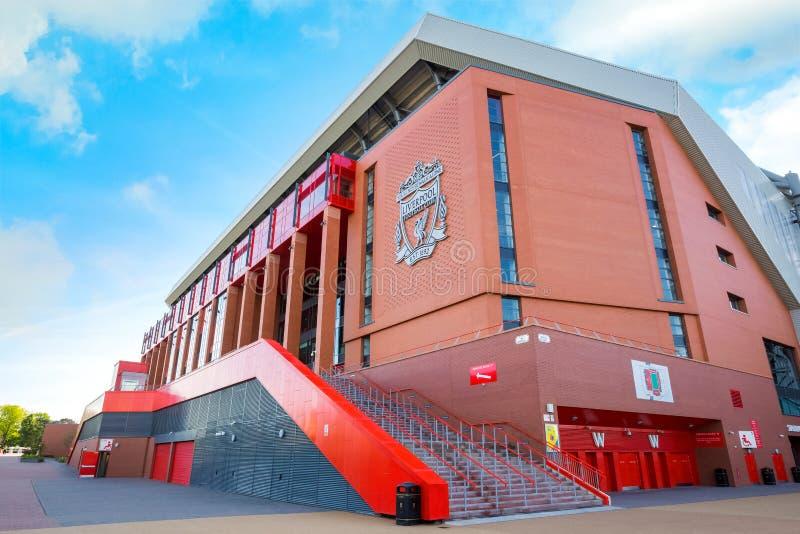 Anfield-Stadion, die Heimspielstätte des Liverpool-Fußballvereins in Großbritannien stockfotografie