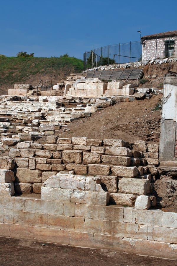 Anfiteatro antico nell'area archeologica di Larissa, Grecia fotografia stock libera da diritti