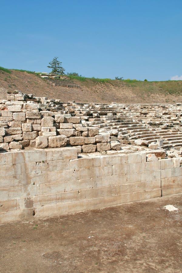 Anfiteatro antico nell'area archeologica di Larissa, Grecia fotografia stock