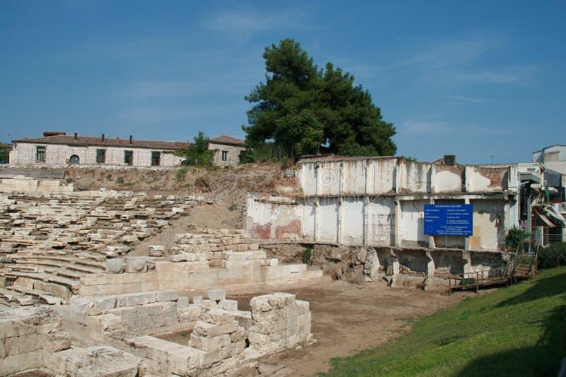 Anfiteatro antico nell'area archeologica di Larissa, Grecia fotografie stock