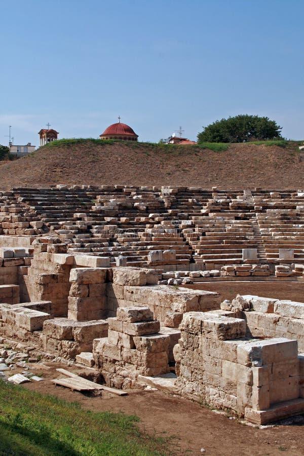 Anfiteatro antico nell'area archeologica di Larissa, Grecia immagini stock libere da diritti