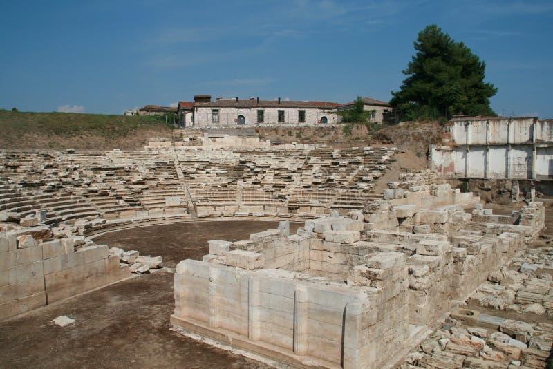 Anfiteatro antico nell'area archeologica di Larissa, Grecia immagine stock libera da diritti