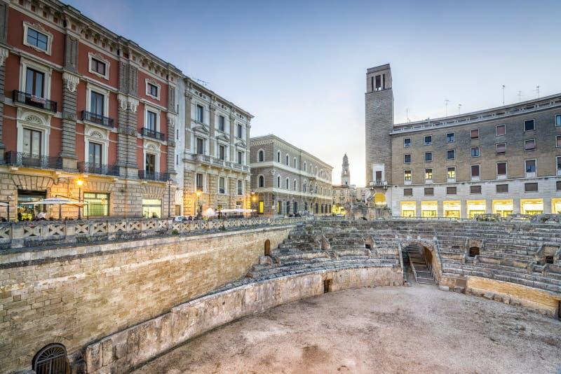 Anfiteatro antigo em Lecce, Itália fotografia de stock