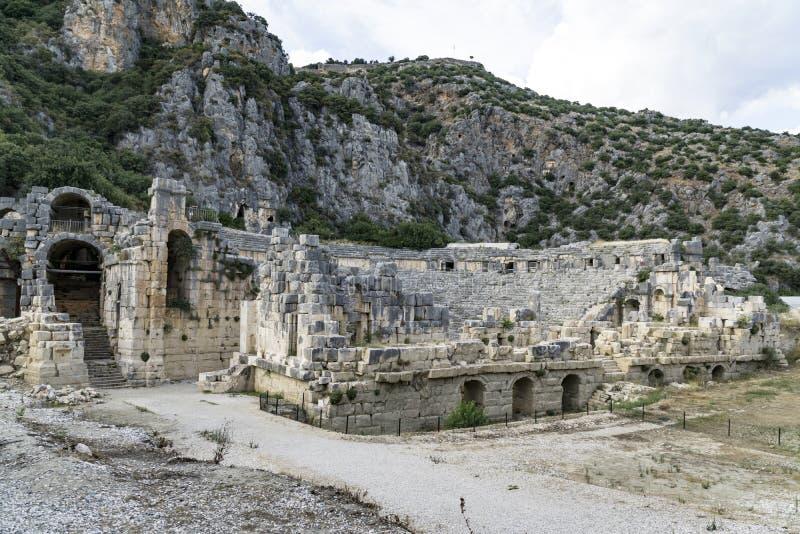Anfiteatro antigo em Myra (Demre), Turquia imagens de stock royalty free