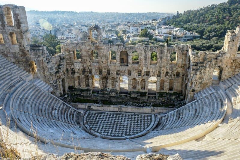 Anfiteatro da acrópole em Atenas, Grécia fotografia de stock royalty free