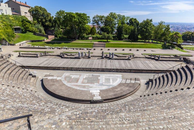 Anfiteatro dei tre Gauls in Fourviere sopra Lione Francia immagine stock libera da diritti