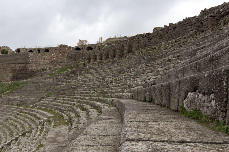 Anfiteatro histórico da acrópole da cidade de Pergamon Acient imagem de stock