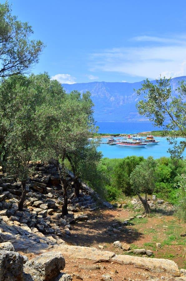Anfiteatro Ilha de Sedir Mar Egeu Turquia imagem de stock royalty free