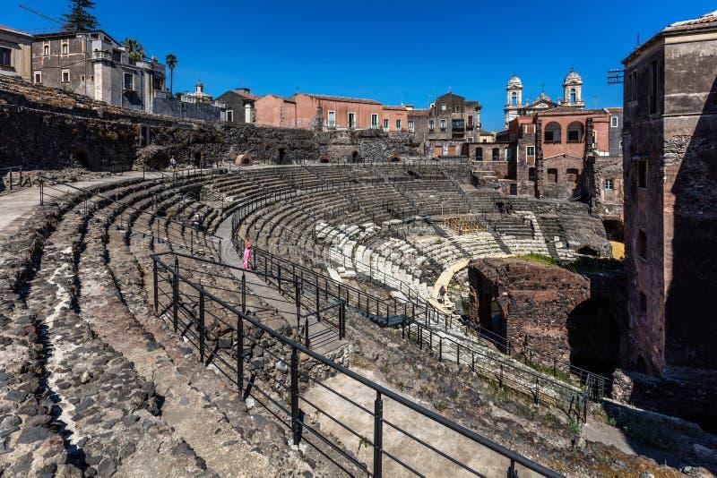 Anfiteatro romano a Catania, Sicilia, Italia immagini stock libere da diritti