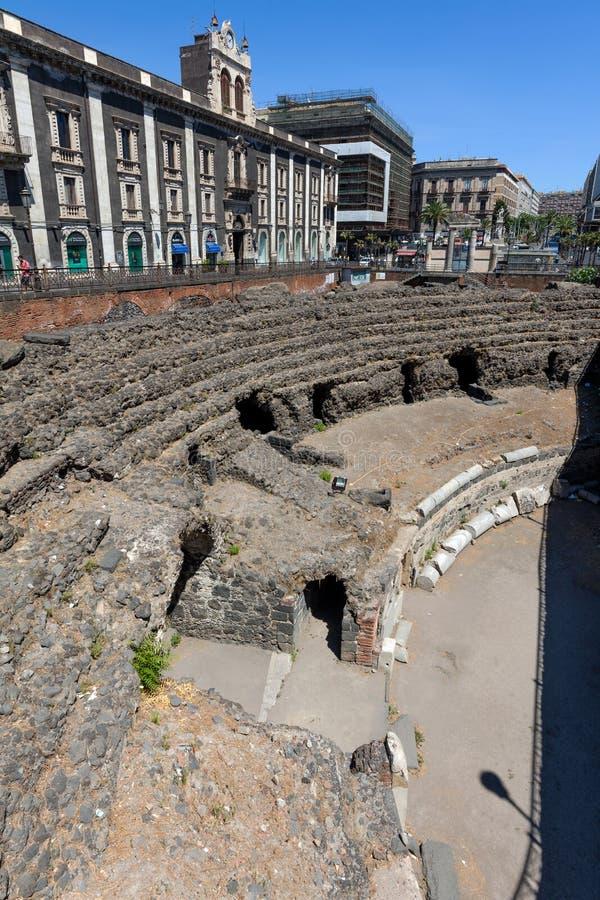 Anfiteatro romano a Catania, Sicilia, Italia fotografia stock libera da diritti