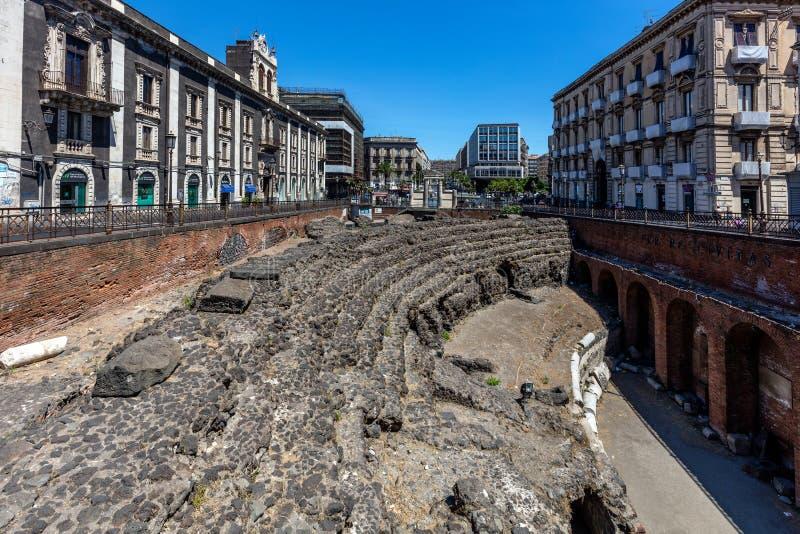 Anfiteatro romano a Catania, Sicilia, Italia fotografia stock
