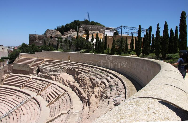 Anfiteatro romano em Cartagena, região Múrcia, Espanha imagens de stock royalty free