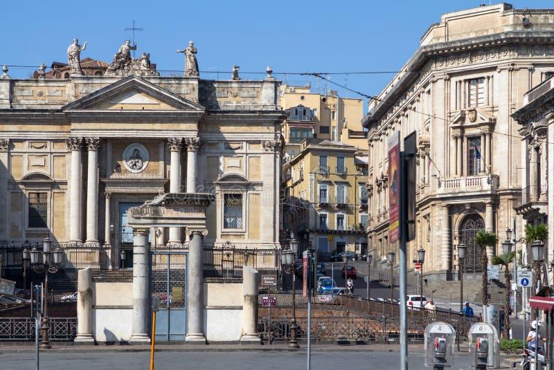 Anfiteatro romano em Catania, Itália foto de stock