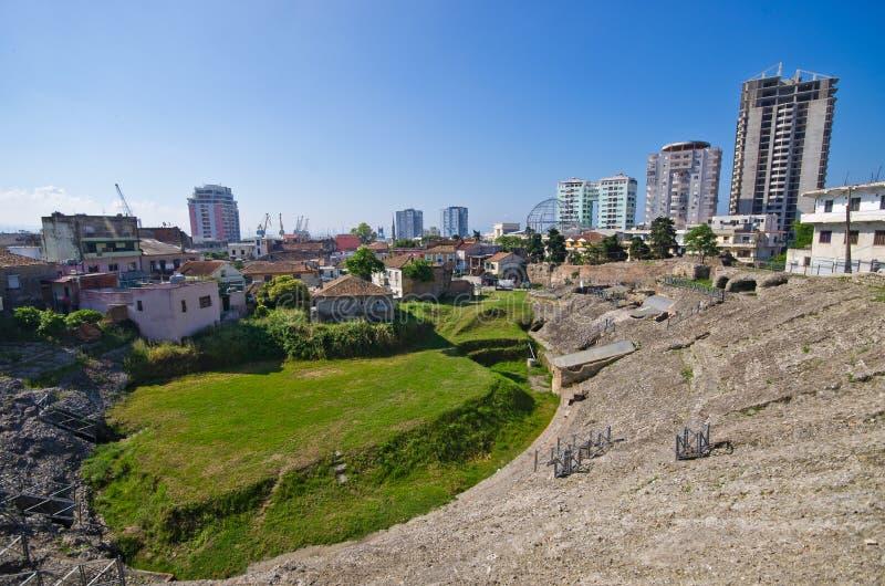 Anfiteatro romano em Durres, Albânia imagem de stock