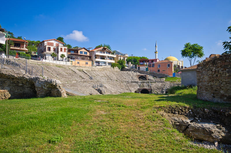 Anfiteatro romano em Durres, Albânia fotografia de stock royalty free