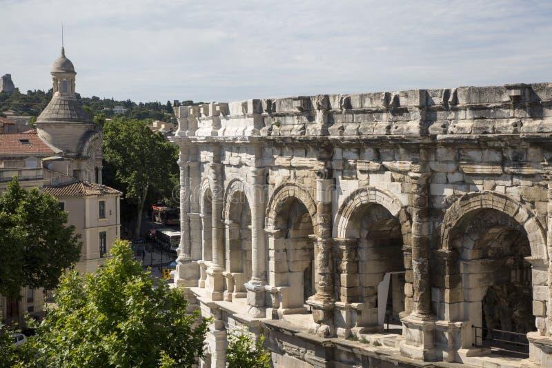 Anfiteatro romano em Nime, França fotos de stock royalty free