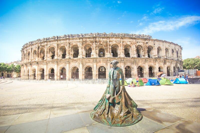 Anfiteatro romano em Nimes, Provence fotos de stock royalty free