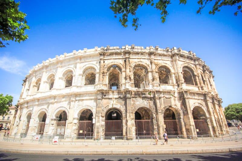 Anfiteatro romano em Nimes, Provence fotografia de stock