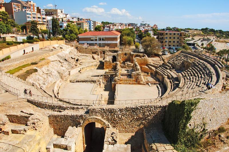 Anfiteatro romano en Tarragona, España imagenes de archivo